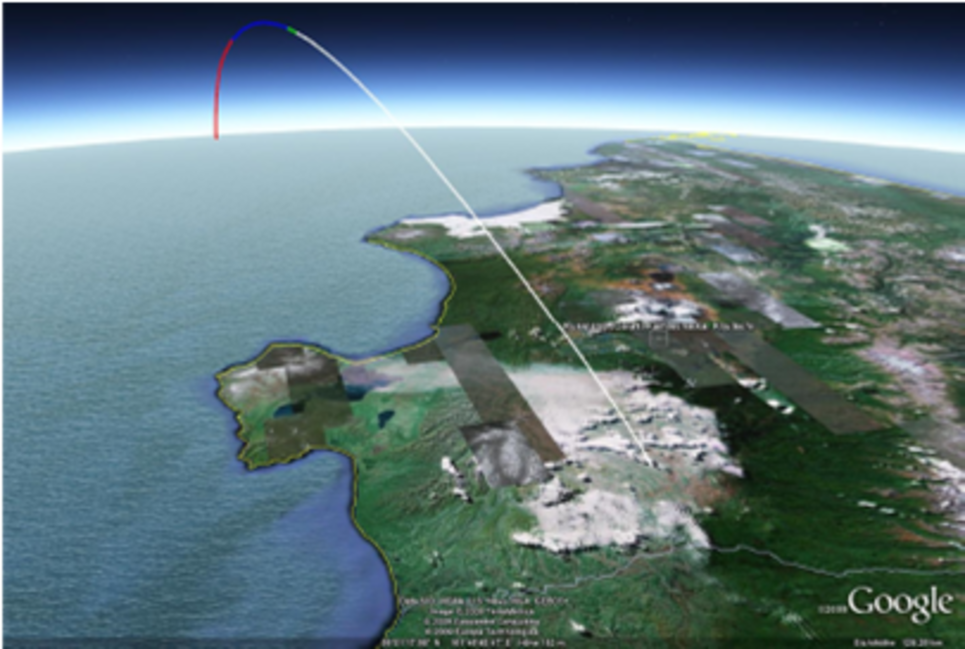 Aerial view of the trajectory looking South from the Kamchatka peninsula
