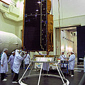 CryoSat-2 being lowered onto the launch adapter