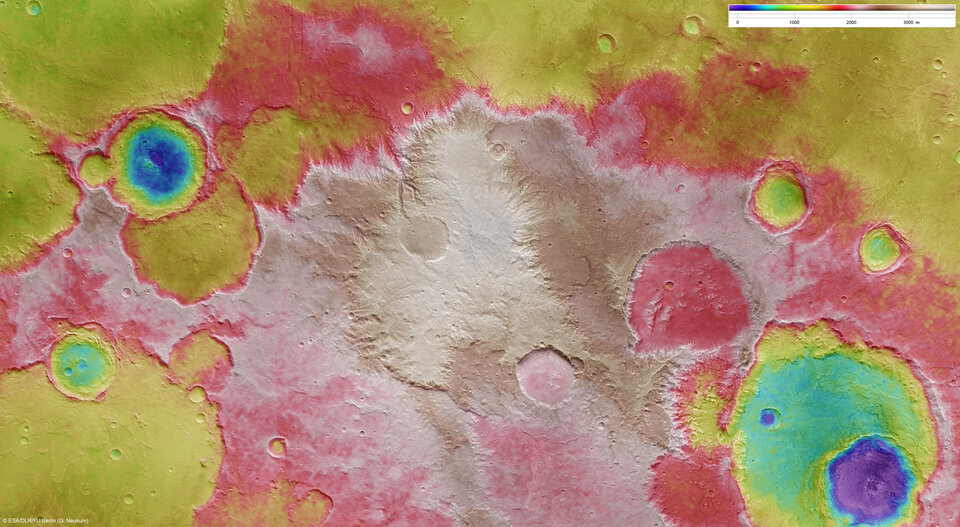 Elevation of the Sirenum Fossae region in the Southern Highlands of Mars.