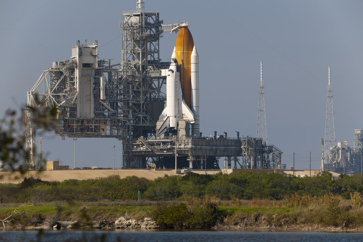 Endeavour on the launch pad