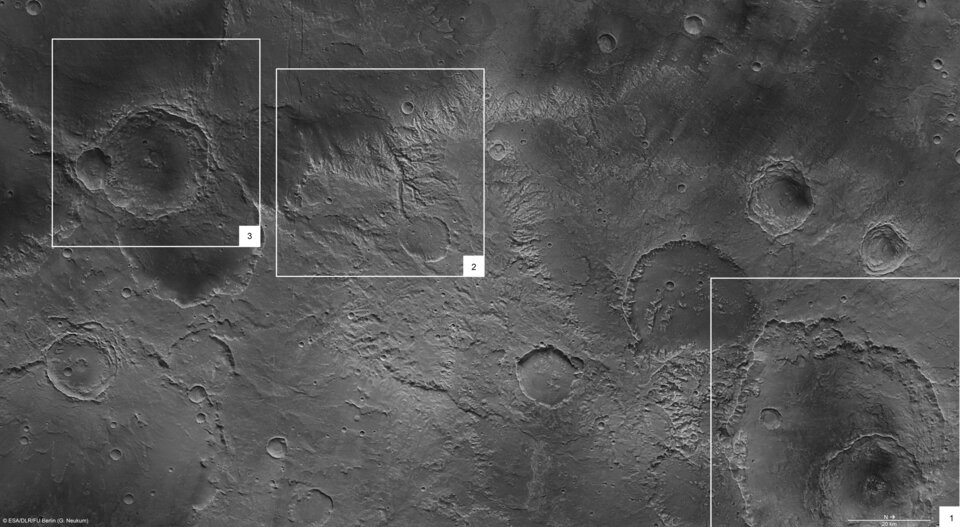 Notable features in the Sirenum Fossae region of Mars.