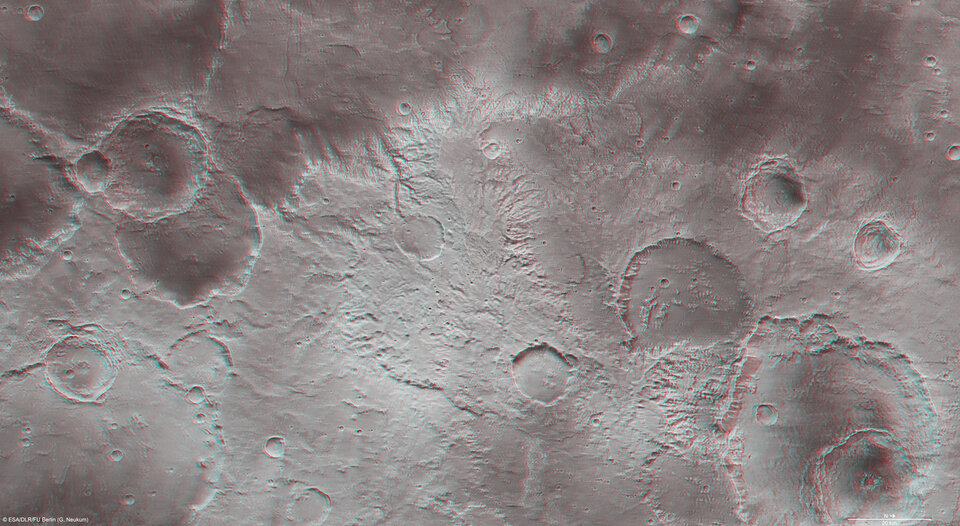 Part of the Sirenum Fossae region in 3D.