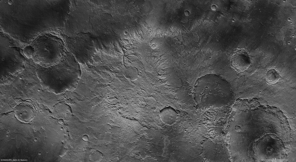 Part of the Sirenum Fossae region in high resolution.