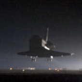 Space Shuttle Endeavour touching down at KSC