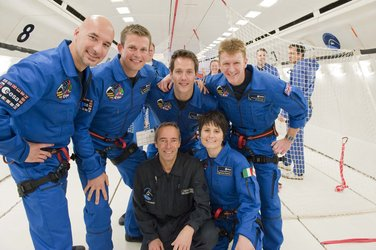 ESA astronauts before parabolic flight aboard the Airbus A300 Zero-G