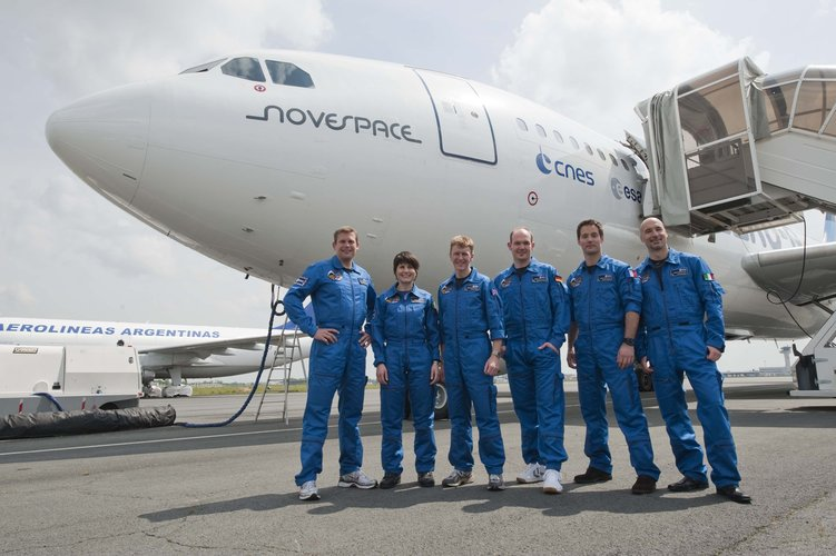 ESA astronauts candidates after a parabolic flight aboard the Airbus A300 Zero-G