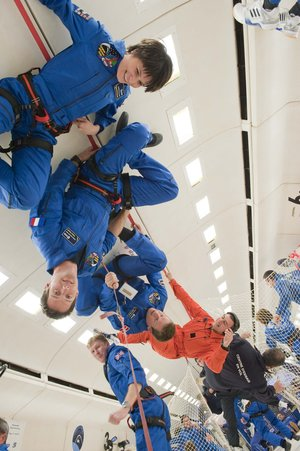 ESA astronauts during parabolic flight
