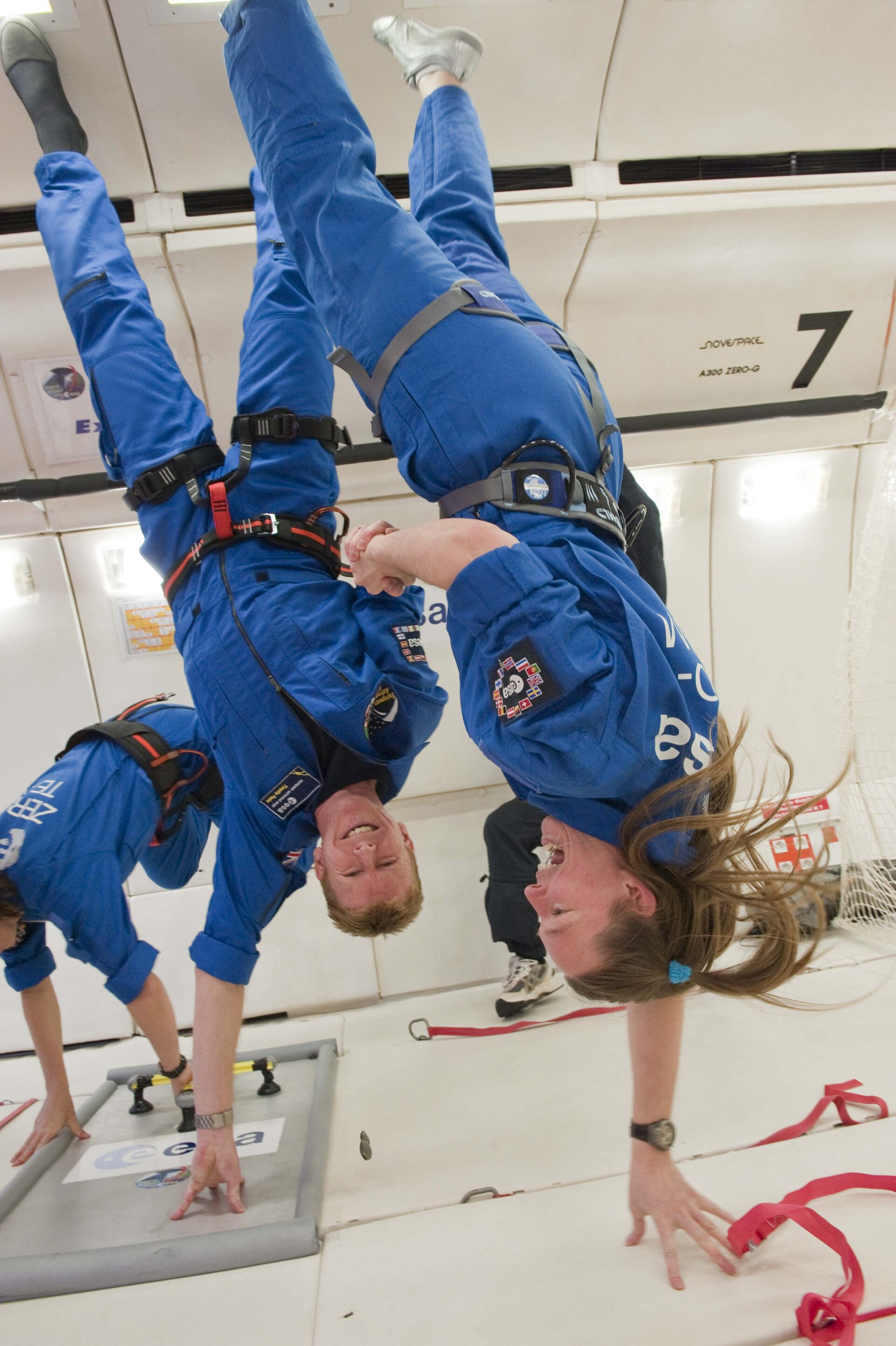 ESA astronauts during parabolic flight aboard the Airbus A300 Zero-G