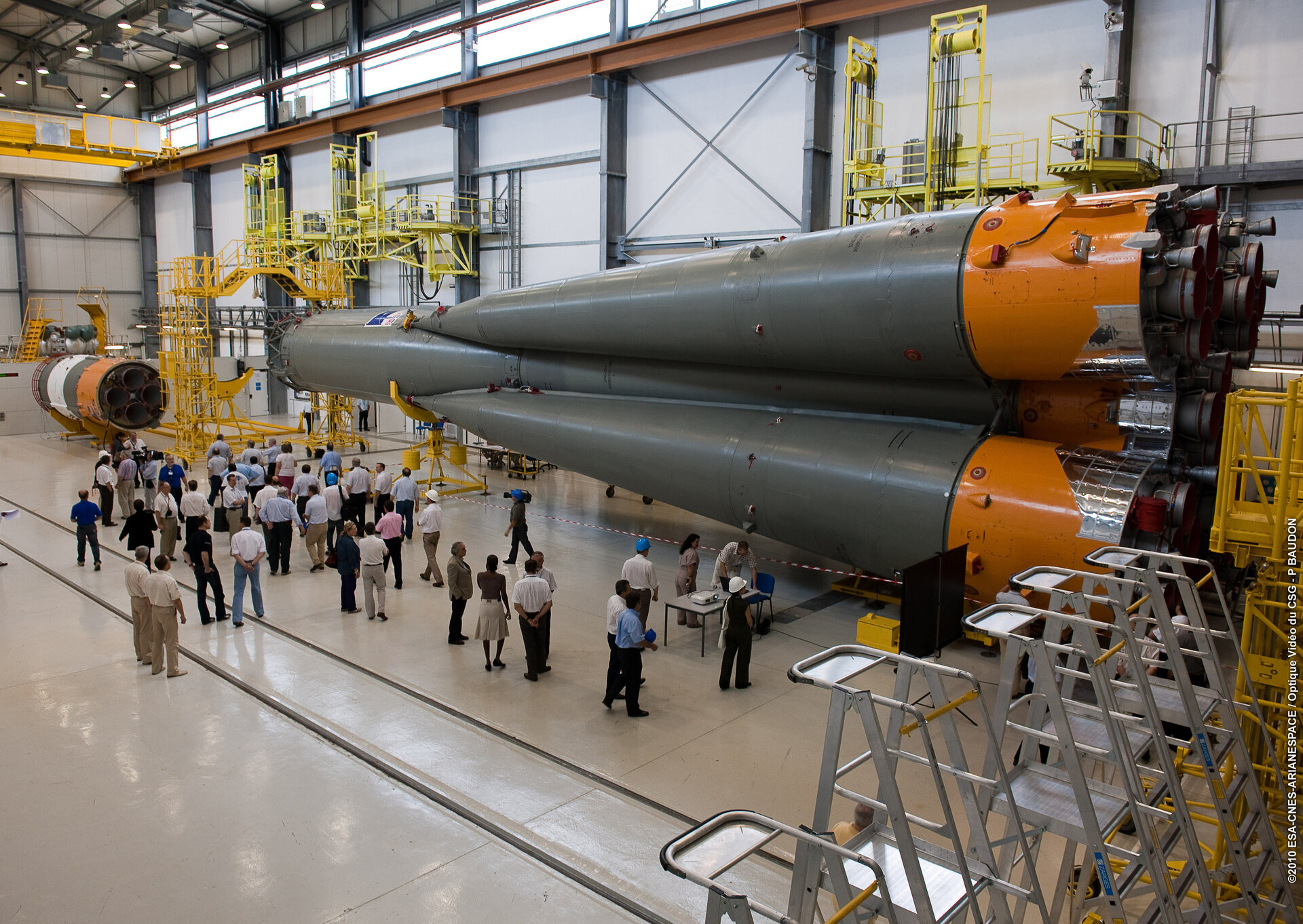 Integration of the first and second stages of Soyuz is completed at Europe's Spaceport