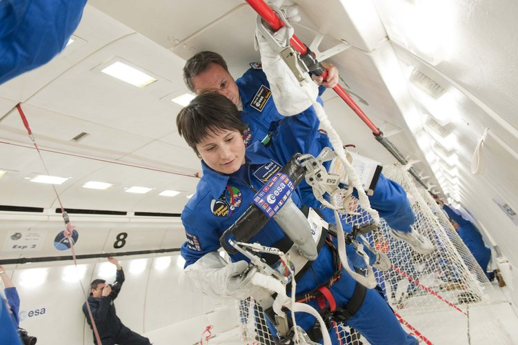 Samantha Cristoforetti testing a space suit gloves