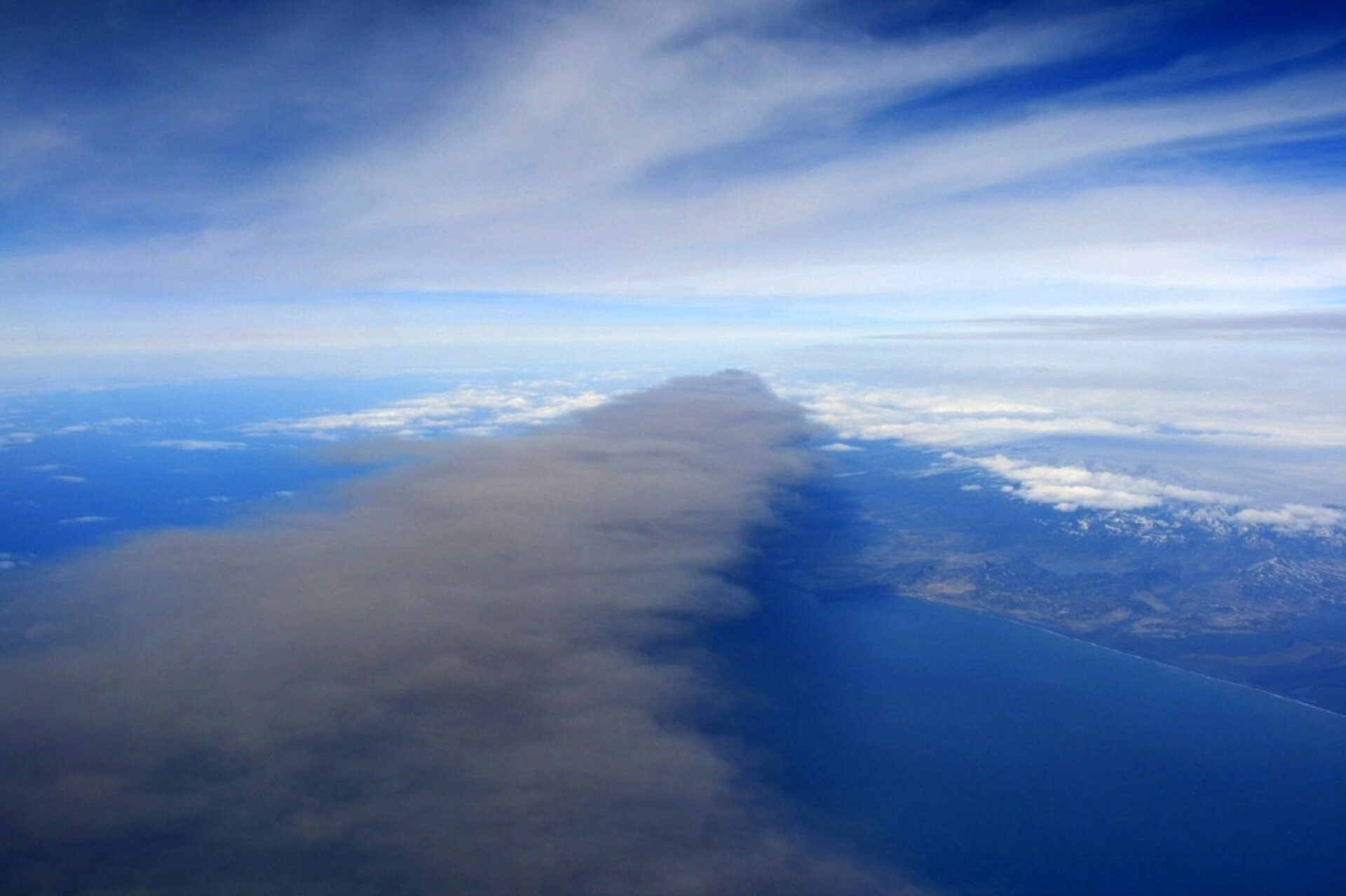 Volcano plume from Falcon aircraft