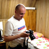 Alexey checking his camera