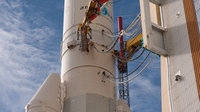 Ariane 5 flight V195 is poised for launch with Arabsat-5 and COM