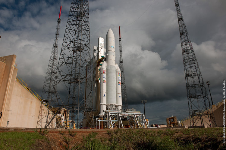 Ariane 5 flight V195 is poised for launch with Arabsat-5 and COMS