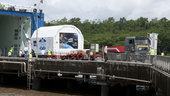 ATV containers are unloaded after arriving in Kourou on board Fr