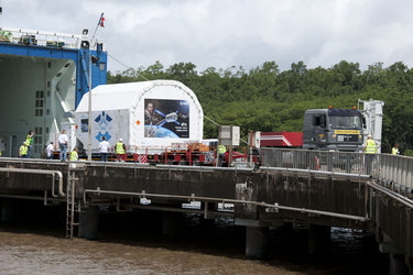 ATV-2 containers being unloaded from MN Toucan