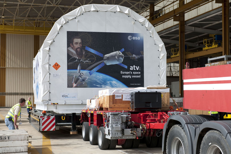 ATV-2 containers being unloaded in Kourou