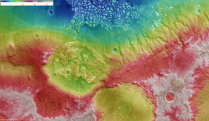 Elevation of the Magellan Crater region of Mars