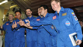 Mars500 crew celebrating prior entry to the modules