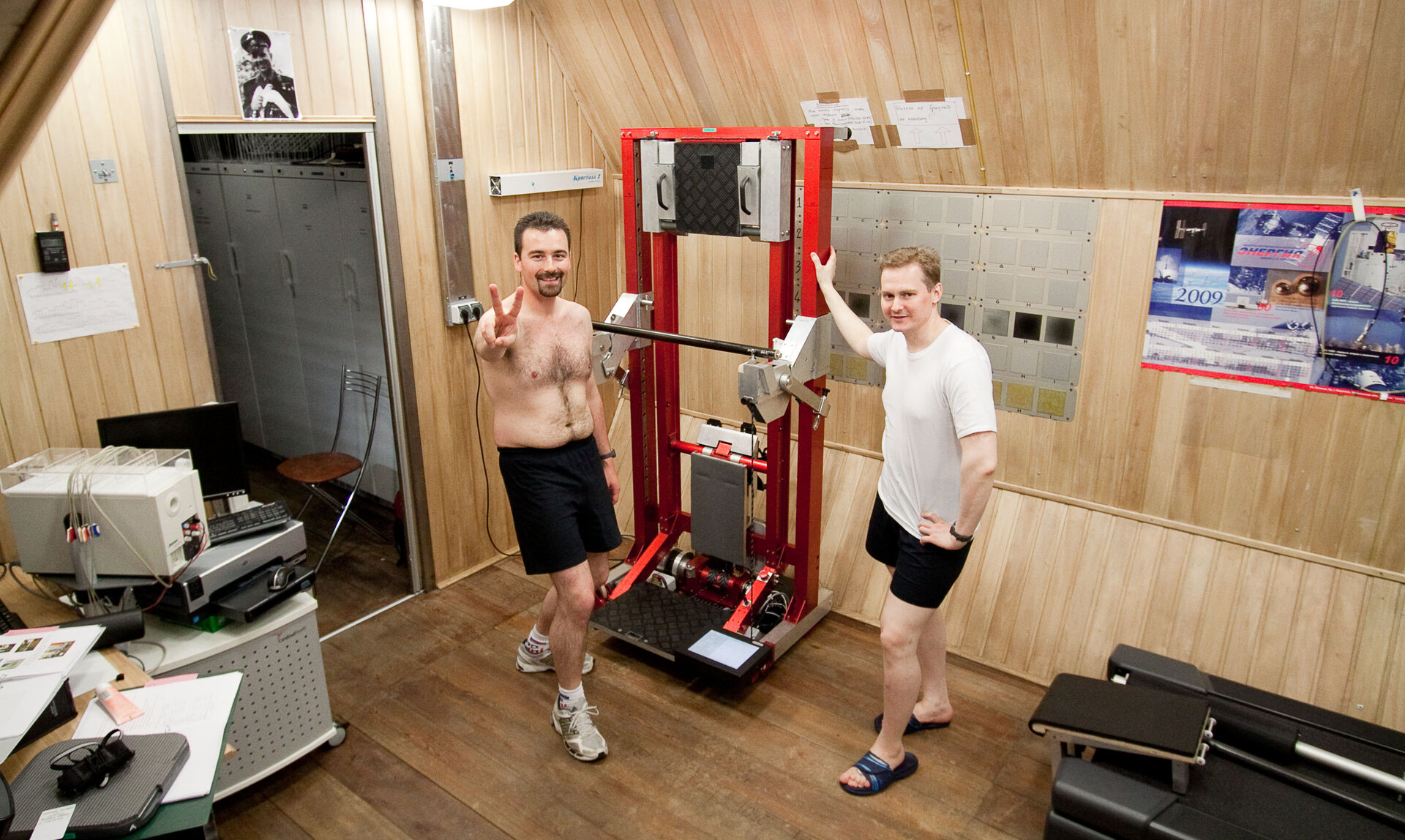 Romain and Aleksandr with training machine