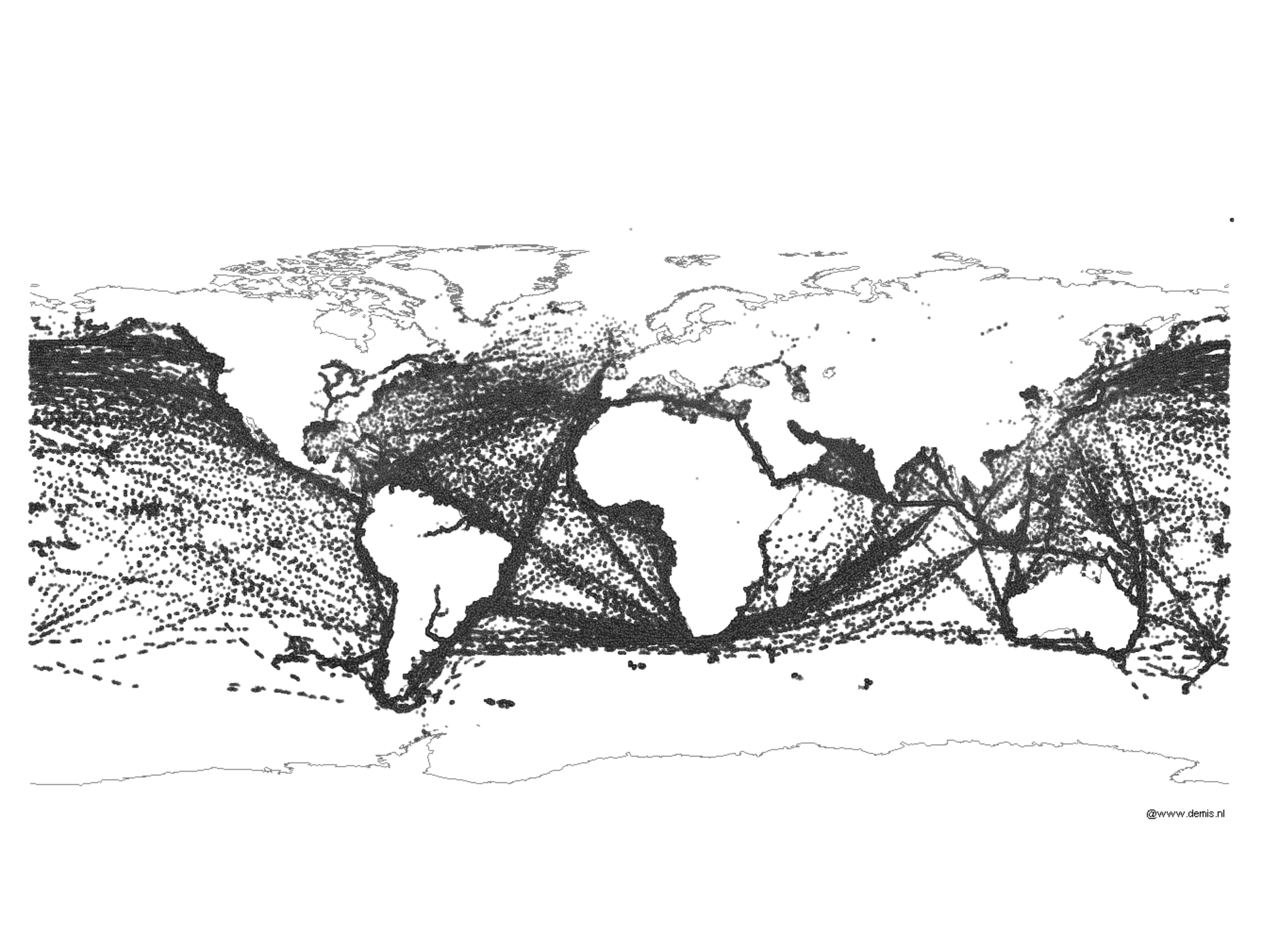 Ship routes plotted over time