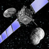 Artist's impression of Rosetta at asteroid 21 Lutetia 10 July 20