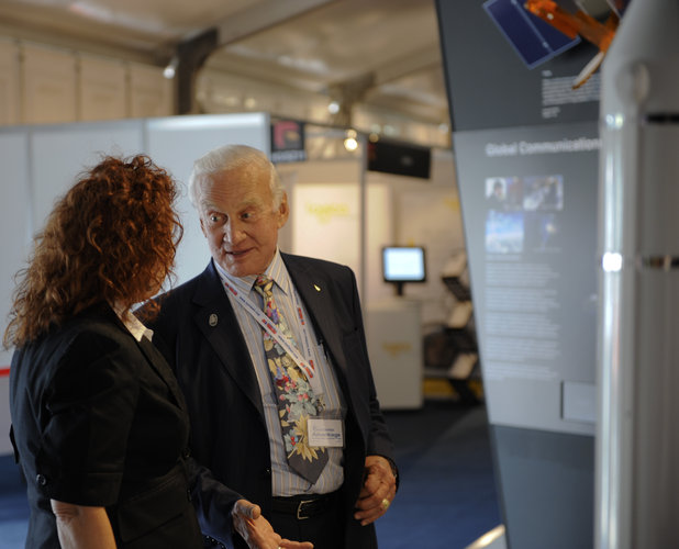 Buzz Aldrin visiting ESA stand