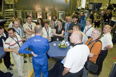 Participants and ESA astronaut Frank De Winne