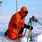 Taking ground measurements of ice