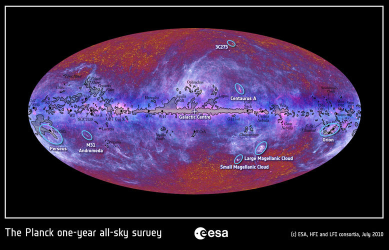 The microwave sky as seen by Planck with objects labeled