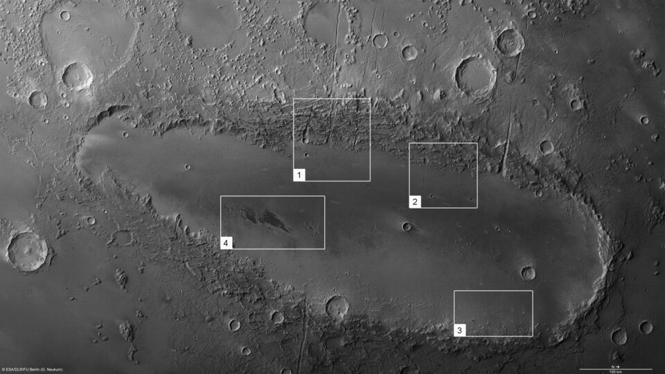 Features in Orcus Patera on Mars