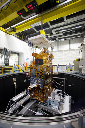 MetOp-B Payload Module is lifted out of ESTEC's Large Space Simulator