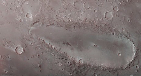 Orcus Patera on Mars in 3D