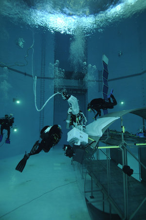 Timothy Peake during spacewalk training  in the Neutral Buoyancy Facility at EAC