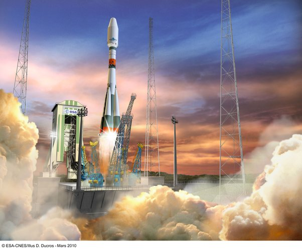 Artist's impression of a Soyuz liftoff in French Guiana