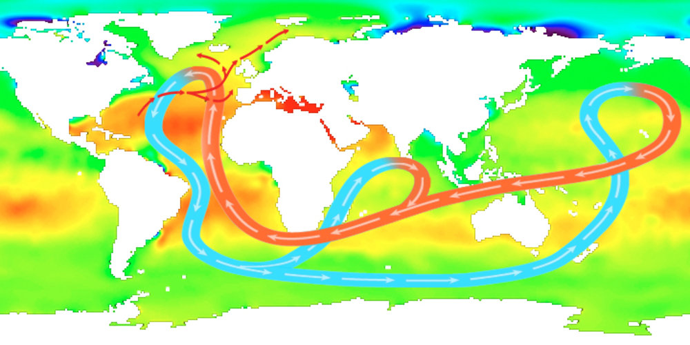 Average sea-surface salinity and global circulation