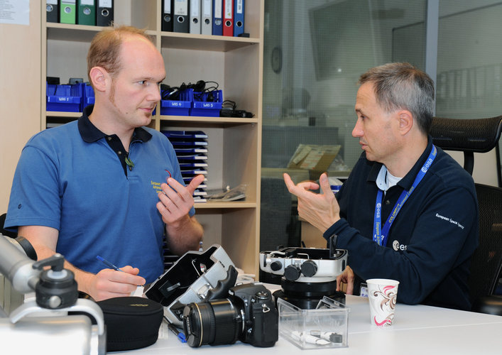 Alexander Gerst during briefing for EVA training