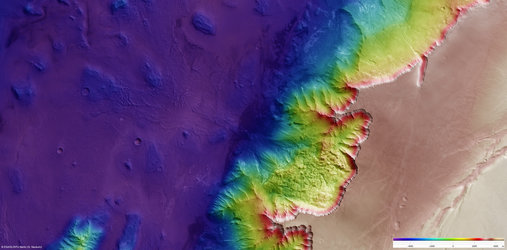 Elevation of Melas Chasma region on Mars