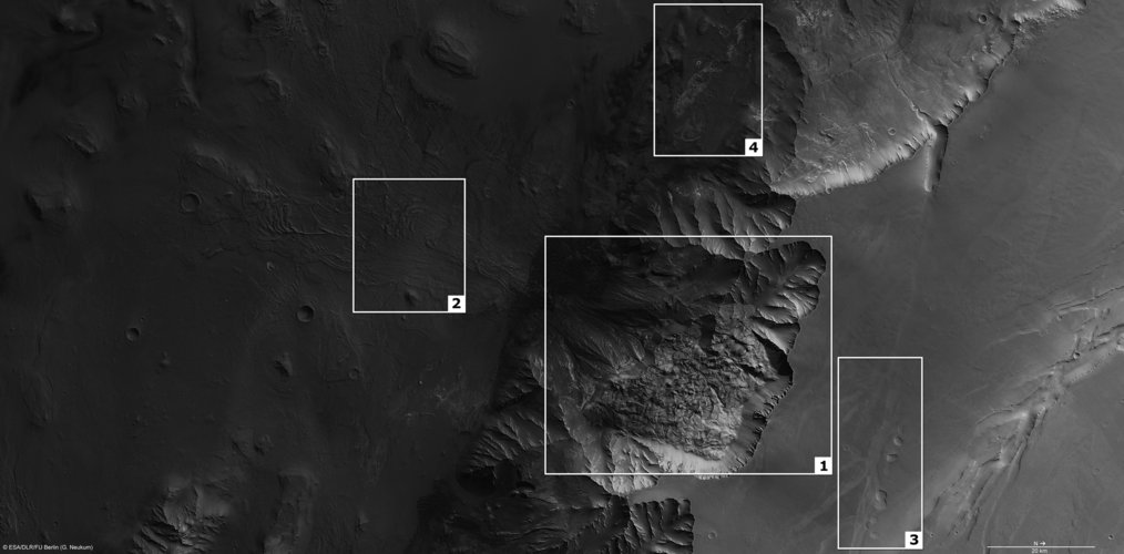 Features in Melas Chasma on Mars