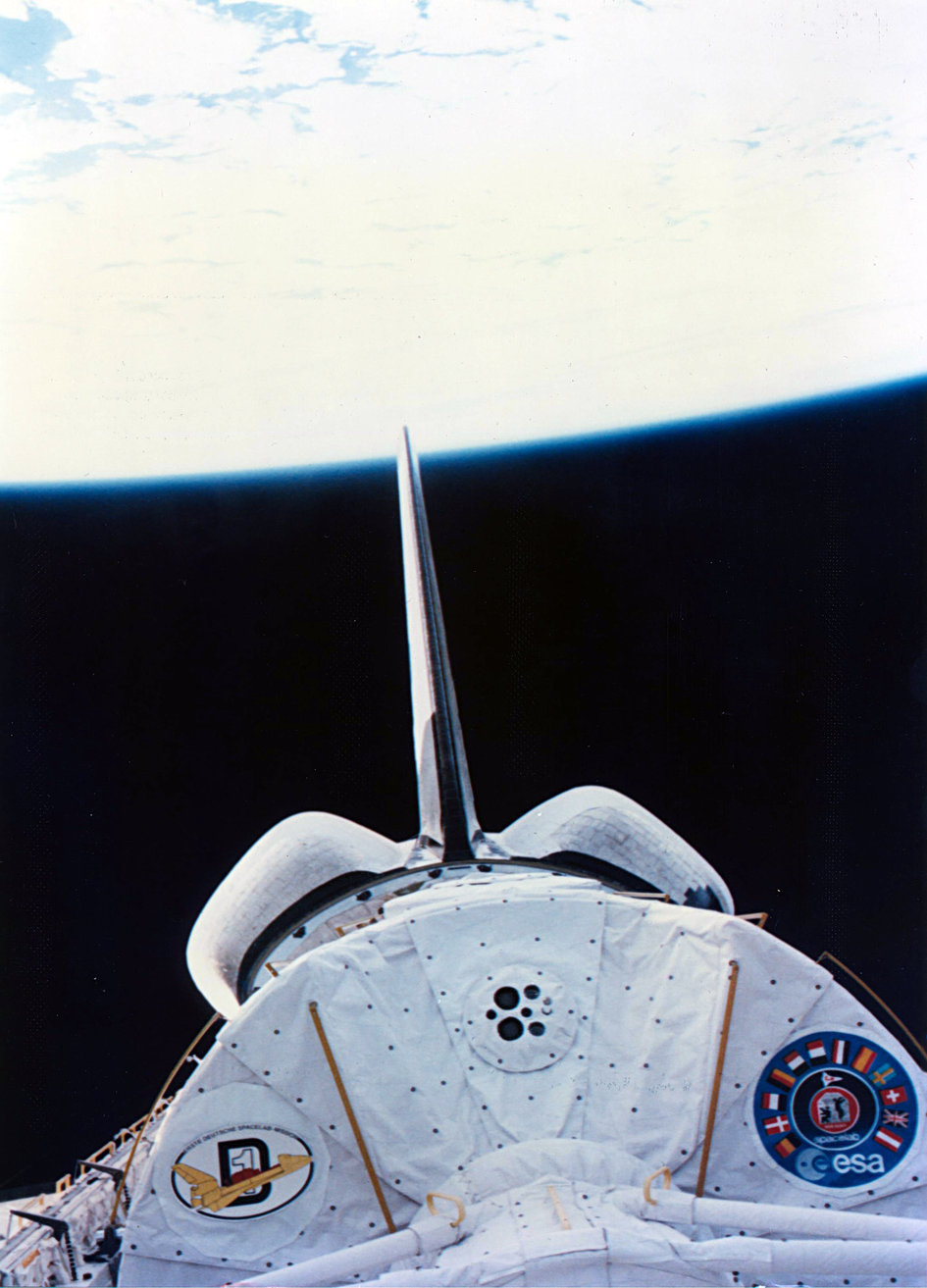 In-orbit view of Spacelab in Challenger's payload bay