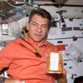 Paolo Nespoli with healthy food