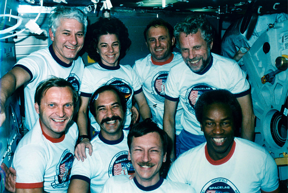The STS-61A Spacelab D1 crew in-flight portrait