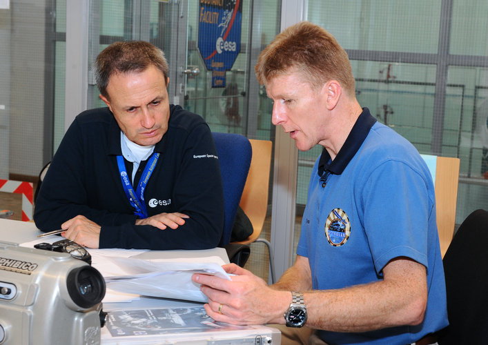 Timothy Peake during briefing before EVA training