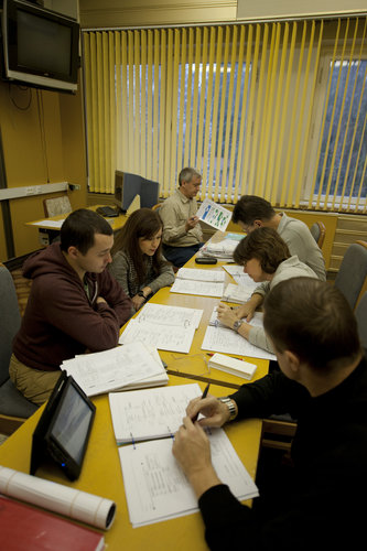 Crew studying at the GCTC