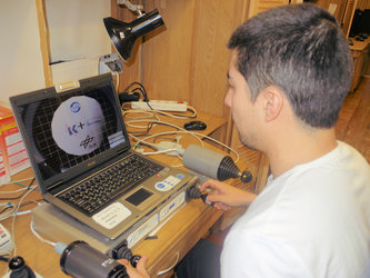 Diego with a computer simulation