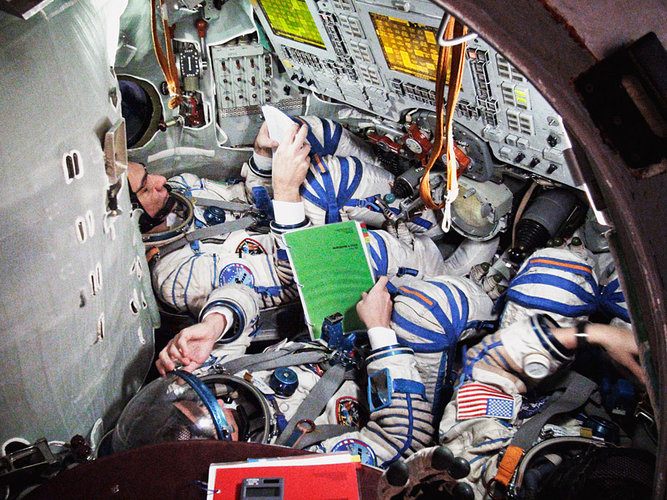 Inside the Soyuz during a simulation