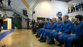 New astronauts waiting for their graduation awards