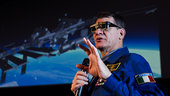 Paolo Nespoli with 3D glasses
