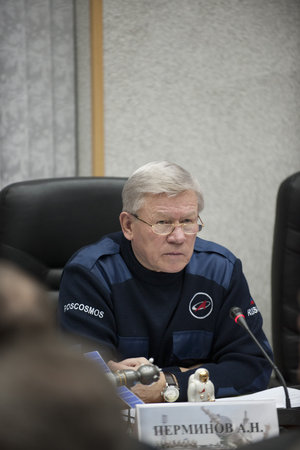 Anatoly Perminov during the State Commission meeting to approve the Soyuz launch