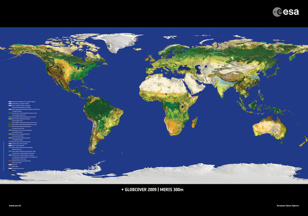ESA Unveils Latest Map Of Worlds Land Cover Envisat Observing - Earth world map